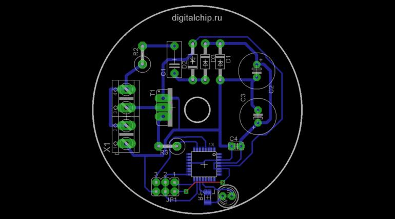 Печатная плата контроллера вытяжного вентилятора. Version 2