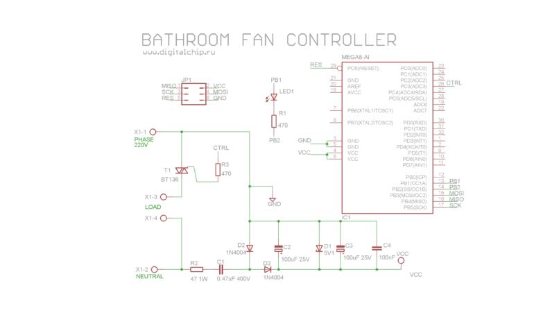 Схема контроллера вытяжного вентилятора в ванную комнату. Version 2